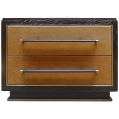 Abuelo Pedestal Nightstand in Oiled & Waxed Wenge W/ Leather and Brass Detail