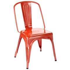 AC Chair in Textured Matte Red-Orange by Xavier Pauchard & Tolix