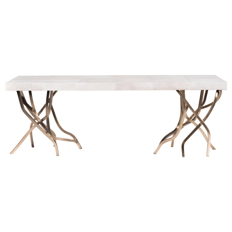 Acacia Bench in Cream Shagreen and Bronze-Patina Brass by R&Y Augousti For Sale