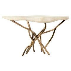 Acacia Console Table in Cream Shagreen and Bronze-Patina Brass by R&Y Augousti