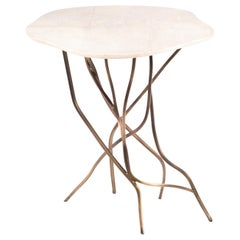 Acacia Side Table in Cream Shagreen & Bronze-Patina Brass by R&Y Augousti