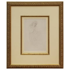 Academic Pencil Drawing of Pensive Woman, Framed