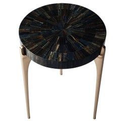 Acantha Side Table by DeMuro Das with Blue Tiger's Eye Top and Solid Bronze Legs