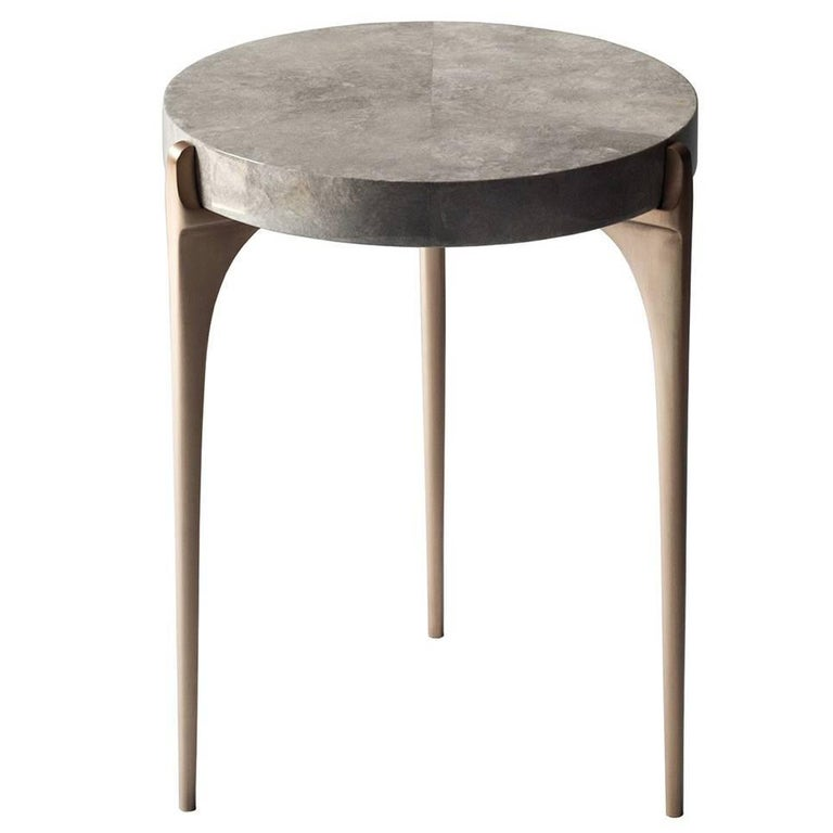 Acantha Side Table by DeMuro Das with Top in Grey Carta and Solid Bronze Legs