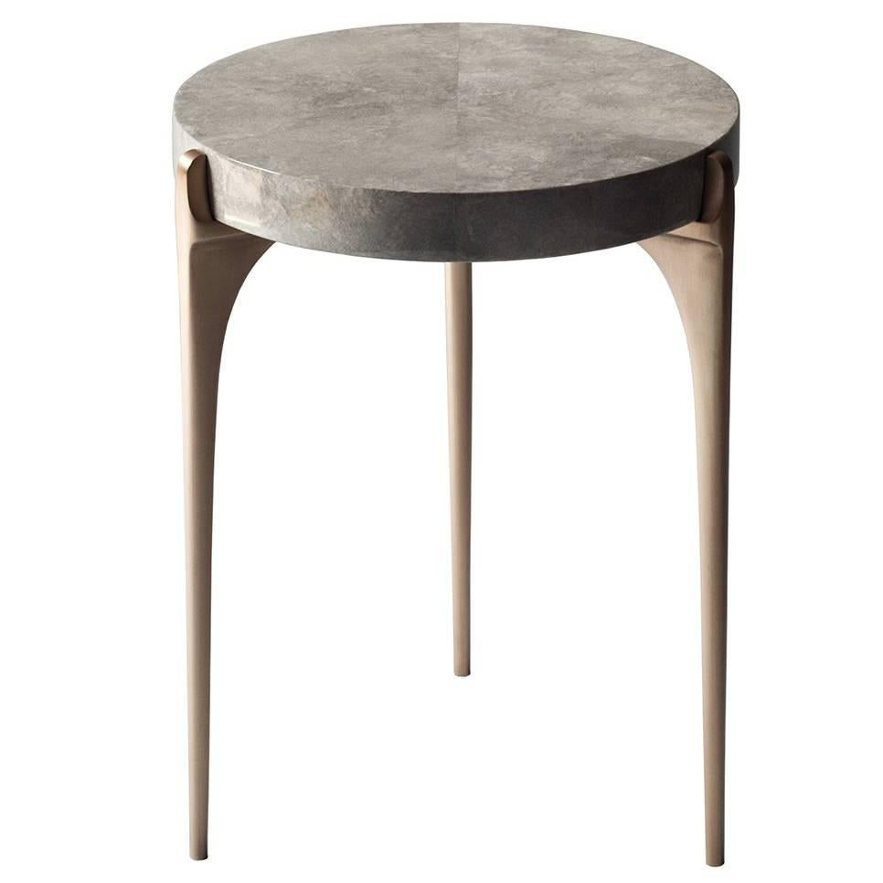 Charmant Acantha Side Table By DeMuro Das With Top In Grey Carta And Solid Bronze  Legs