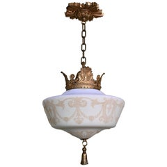 Acanthus Brass Fixture with Stenciled Pendant and Tassel