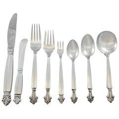 Acanthus, Georg Jensen Sterling Silver Flatware Set of 12 Service 104 Pcs Dinner