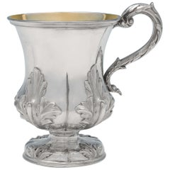 Acanthus Decorated Victorian Sterling Silver Christening Mug from 1840