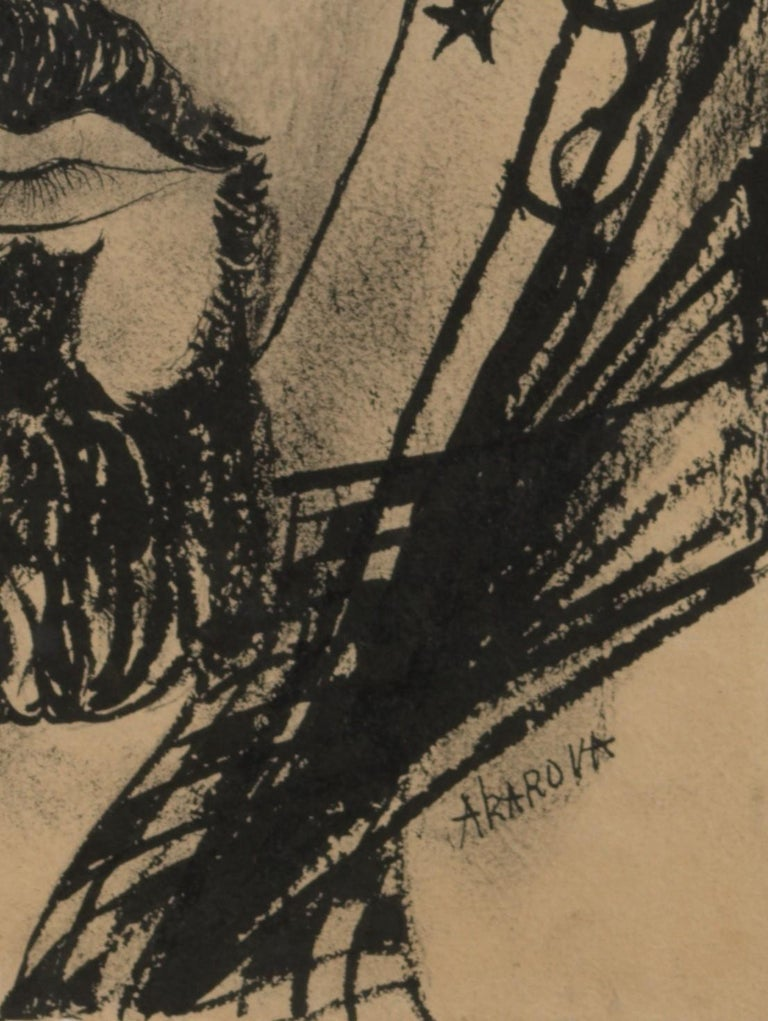 Acarin Marguerite, Portrait of a Man, Drawing on Paper In Good Condition For Sale In Leuven , BE