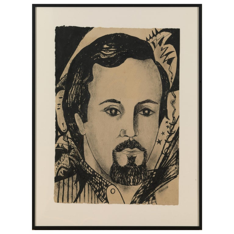 Acarin Marguerite, Portrait of a Man, Drawing on Paper For Sale