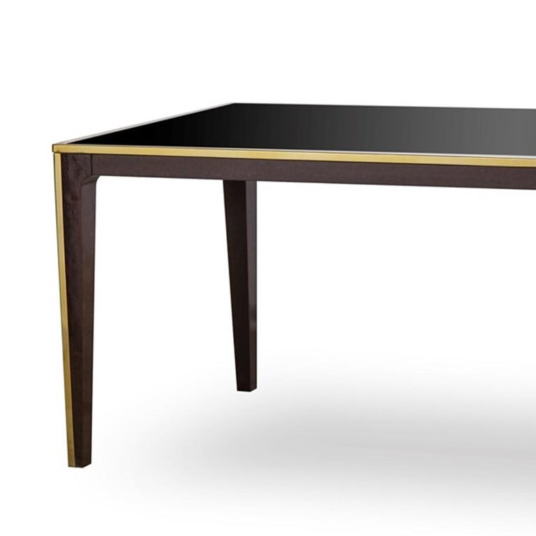 Accent Dining Table with Smoked Tempered Glass Top In New Condition For Sale In Paris, FR