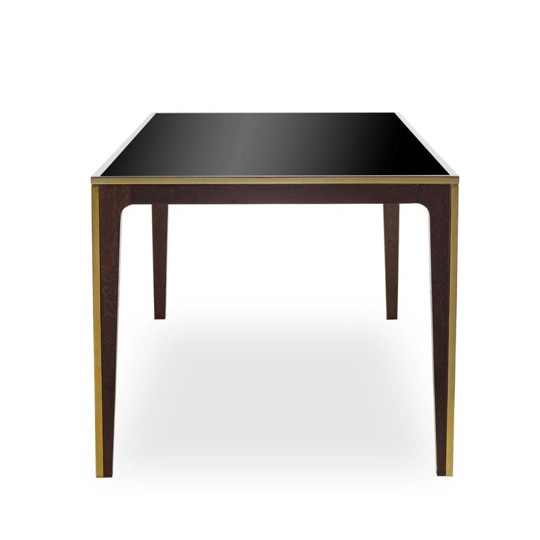 Contemporary Accent Dining Table with Smoked Tempered Glass Top For Sale