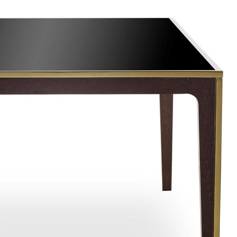 Stainless Steel Accent Dining Table with Smoked Tempered Glass Top For Sale