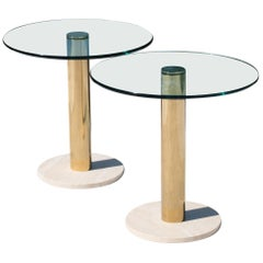 Accent Tables in Travertine and Brass by Pace Collection, Pair