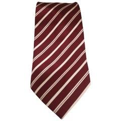 Accessori bordeaux white silk tie