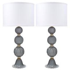 """""""Acciaio"""" Italian Murano Glass Lamps"""