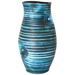 Accolay Ceramic Turquoise Vase, circa 1950