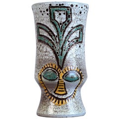 Accolay, Ethnic Vase with Two Faces, France, 1960