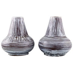Accolay, France, a Pair of Vases in Glazed Ceramic in Striped Design