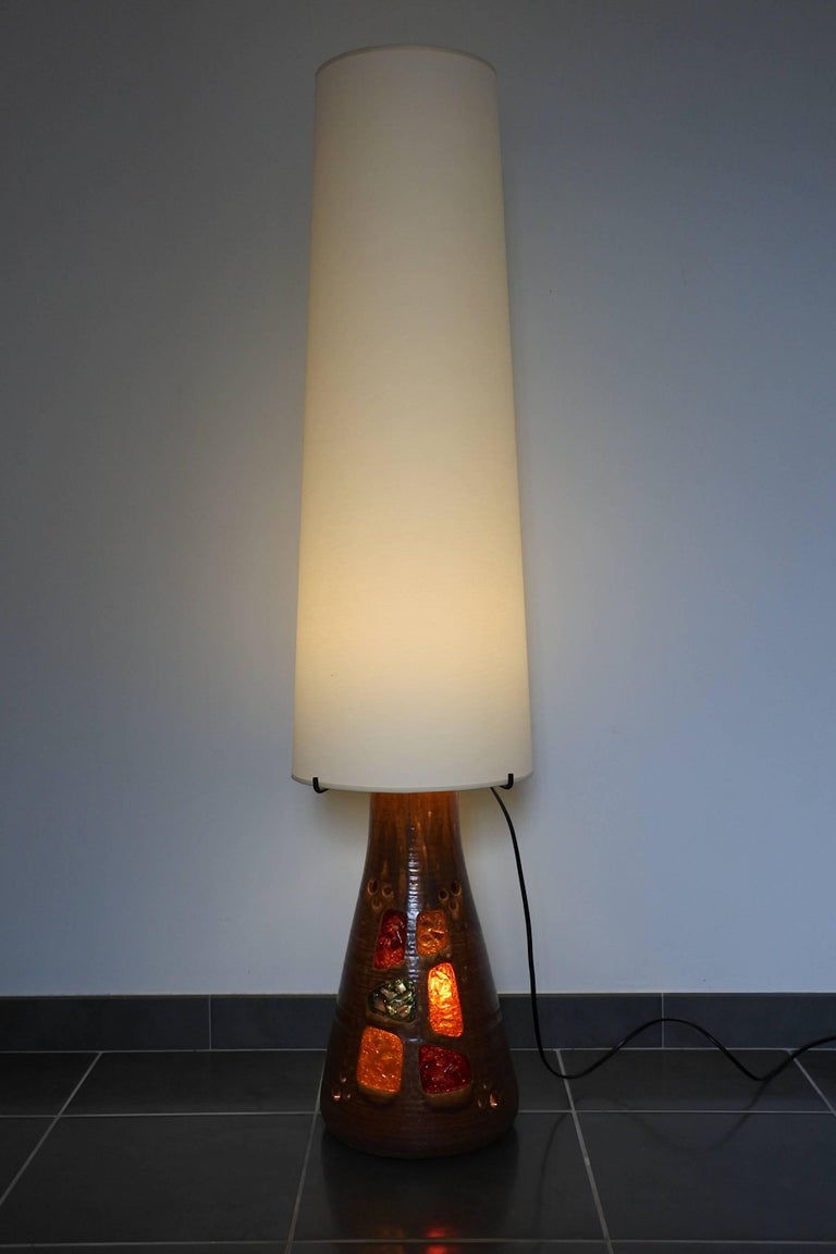 Mid-Century Modern Accolay Midcentury Large Ceramic Floor Lamp, France, 1960s For Sale