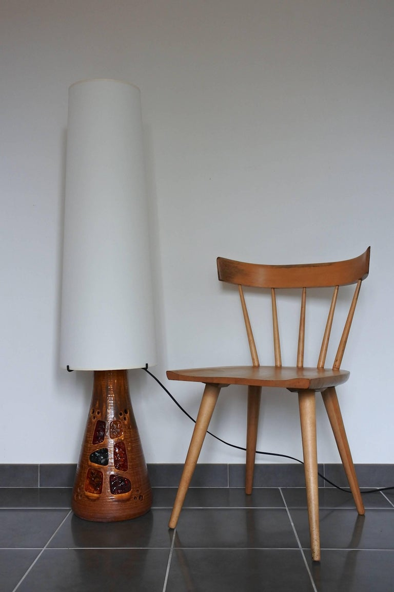 French Accolay Midcentury Large Ceramic Floor Lamp, France, 1960s For Sale