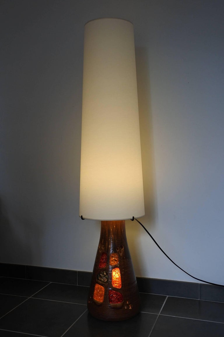 Accolay Midcentury Large Ceramic Floor Lamp, France, 1960s For Sale 2