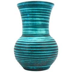 Accolay Turquoise Blue and Anthracite Gray Concentric Circle Vase, 1950s