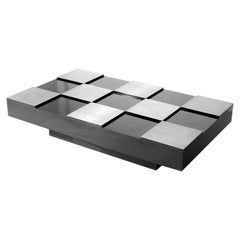 Acerbis Midcentury Black Central Coffee Table with Aluminium Inserts, 1970s