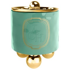 Achi Green Candle, Luxury Ceramic Container Decor with Lid