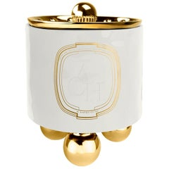 Achi White Candle, Luxury Ceramic Container Decor with Lid