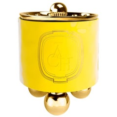 Achi Yellow Candle, Luxury Ceramic Container Decor with Lid
