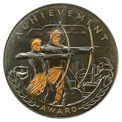 """Achievement,"" Rare Bronze Art Deco Rondel with Archers, Industrial Setting"