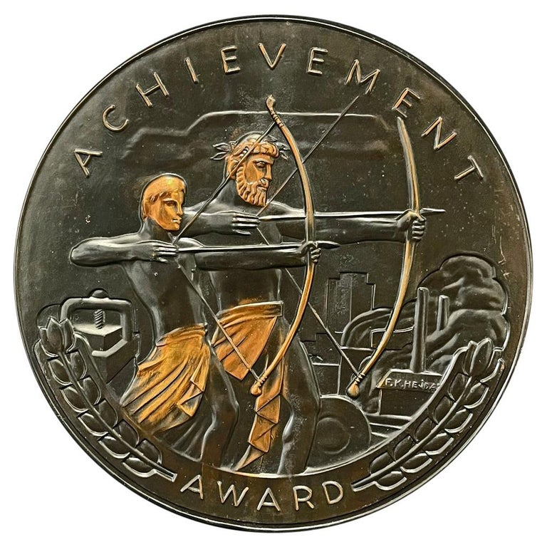 """Achievement,"" Rare Bronze Art Deco Rondel with Archers, Industrial Setting For Sale"