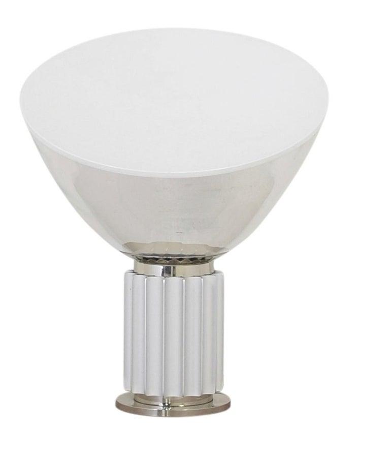 Mid-20th Century Achille Castiglioni for Flos Italian Modern 'Taccia' Table Lamp, Large, Silver For Sale
