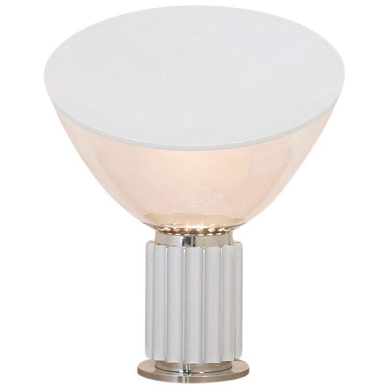 Achille Castiglioni for Flos Italian Modern 'Taccia' Table Lamp, Large, Silver For Sale 1