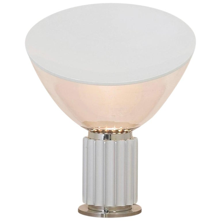 Achille Castiglioni for Flos Italian Modern 'Taccia' Table Lamp, Large, Silver For Sale