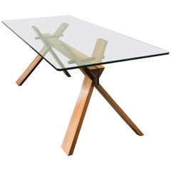 Achille Castiglioni Mid-Century Modern Italian timber Wood & Glass Table, 1970