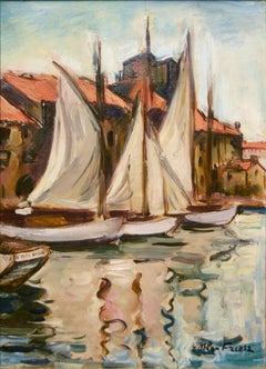 "Fauv Impressionist harbor scene, ""Sailboats at the Quai du Parti, Toulon"""