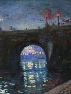 Pont Neuf - Evening - 19th Century Oil, Riverscape at Night by A E Othon Friesz