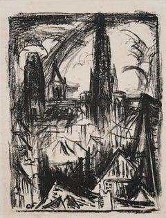 City - Original Lithograph -. 1960s