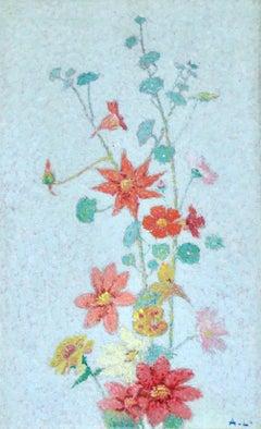 Wildflowers - 19th Century Pointillist Oil, Still Life Flowers by Achille Lauge
