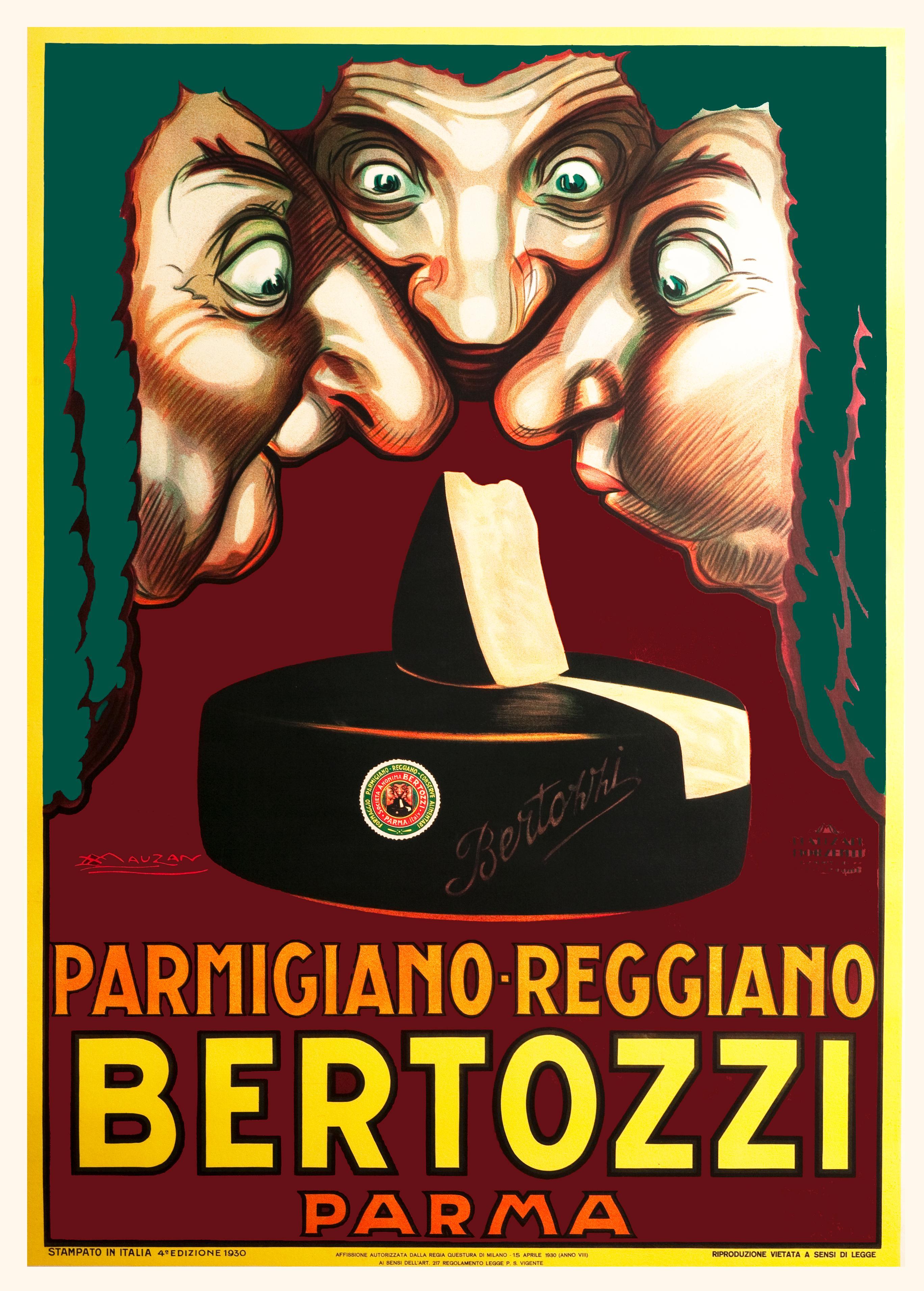 Bertozzi Genuine Reggiano Cheese Italian small store advertising display 1920s