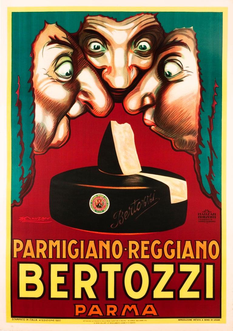 """Bertozzi Parmigiano-Reggiano"" Original Vintage Food Cheese Poster - Print by Achille Luciano Mauzan"