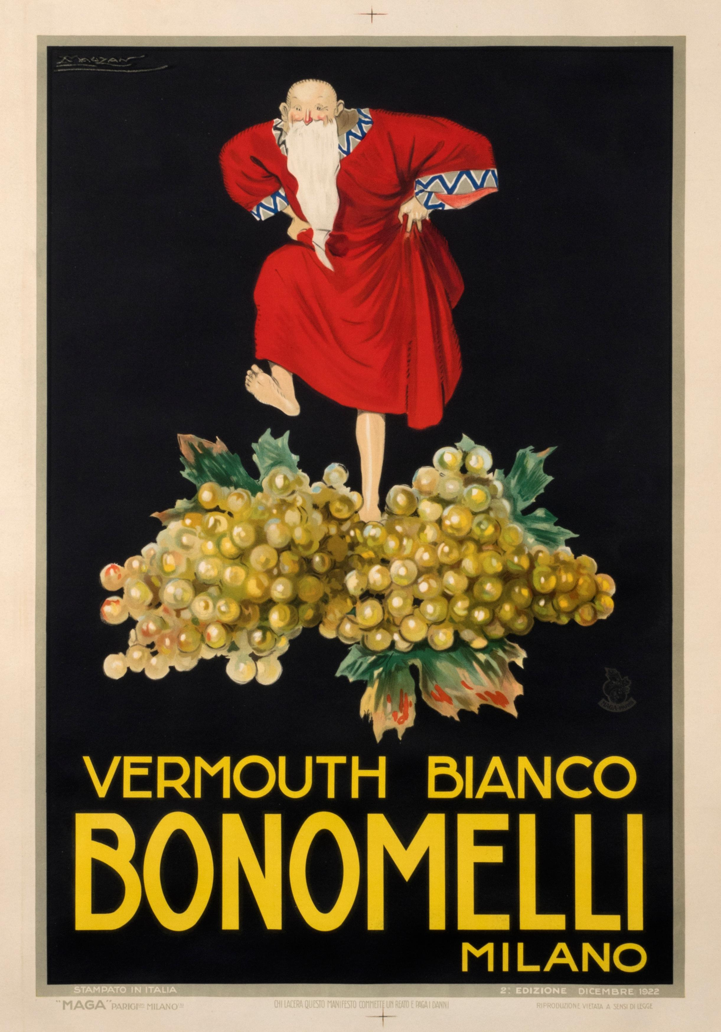 Bonomelli Vermouth Bianco original vintage aperitif poster