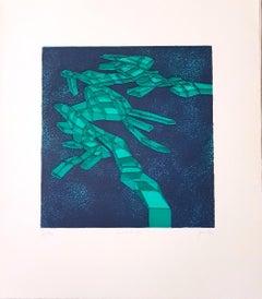 Quieroverde - Original Etching by Achille Perilli - 1971