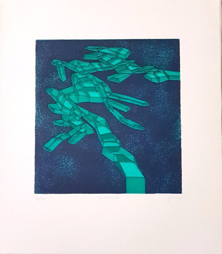 Interesting colored etching, 1971, representing an abstract composition. Edition of 50 prints. Print run, Title and signature hand-written with pencil on lower margin. In excellent condition. Sheet with embossing stamp on lower-left corner.  Image