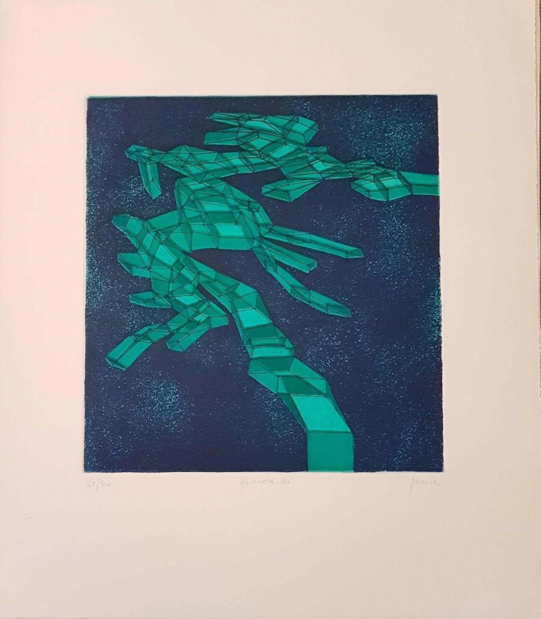 Quieroverde - Original Lithograph by Achille Perilli - 1971