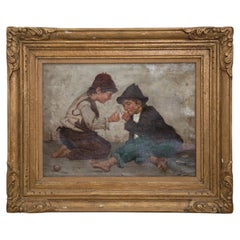 Achille Petrocelli Signed Oil on Canvas of Street Urchins, circa 1900