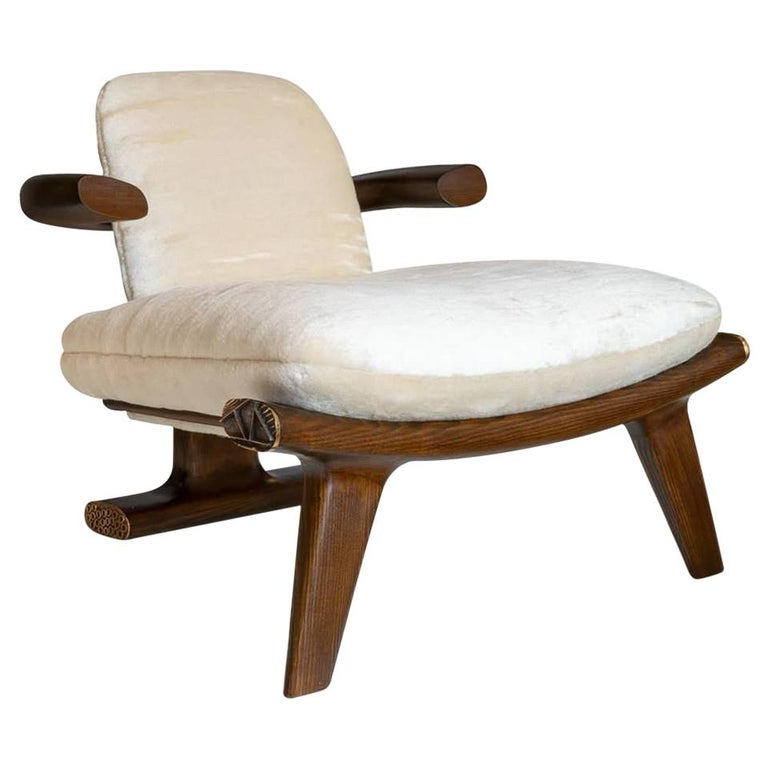 Achille Salvagni, Amboseli, Contemporary Walnut Lounge Armchair, Italy, 2018 For Sale