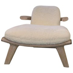 "Achille Salvagni, ""Amboseli White"", Shearling Upholstery, Lime Oak, Contemporary"